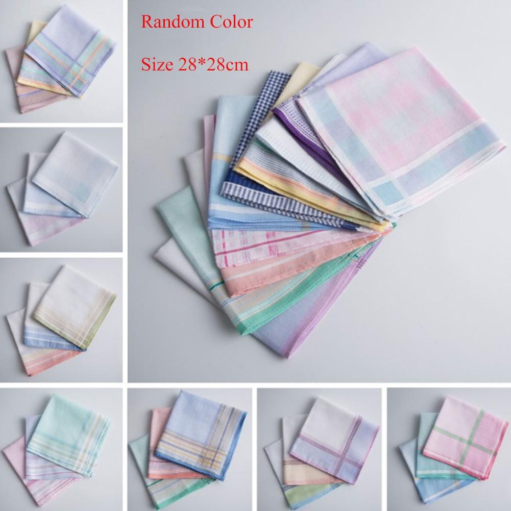 3Pcs Hankerchief Multicolor Plaid Stripe Men Pocket Square Business Chest Towel Pocket Handkerchiefs Hankies Scarves 100% Cotton