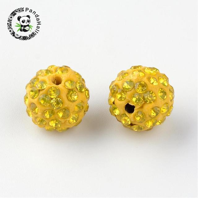 Perles de boule de Disco de pavé de couleur mélangée de 12mm perles rondes de strass dargile de polymère pour le trou de bricolage de fabrication de bijoux 2mm, 100 pcs/lot