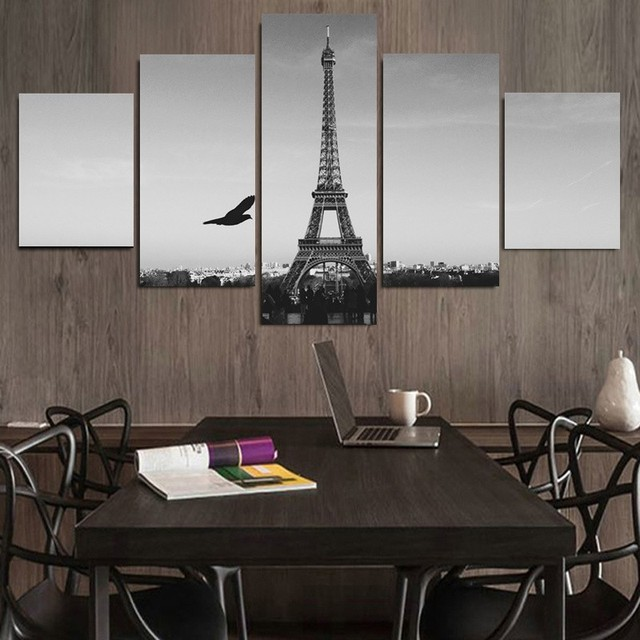 5 Piece Blacku0026White Grand Eiffel Tower Wall Painting View Modern Home Room Wall  Decor Art HD