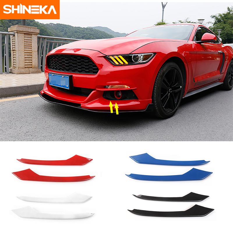 SHINEKA ABS Car Front Fog Light Eyelid Decoration Cover Trim Strips Stickers For Ford <font><b>Mustang</b></font> <font><b>2015</b></font>-2018 Car Styling <font><b>Accessories</b></font> image