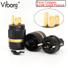 цены Free shipping One pair viborg VM-501(G)/VF-501(G) Pure Red-Copper 99.999% 4U gold plated US Plug power plug