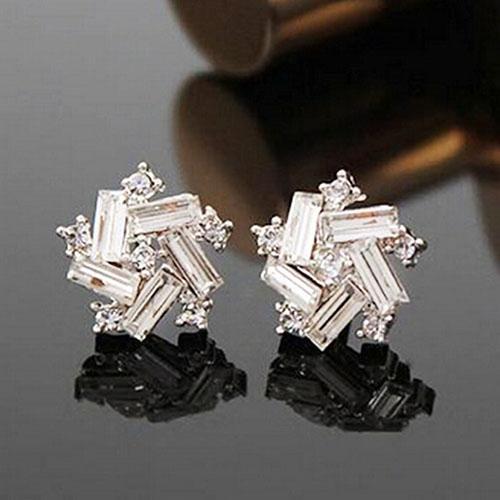 1 Pair Vintage Ear Windmill Earrings Stud Jewelry Silver