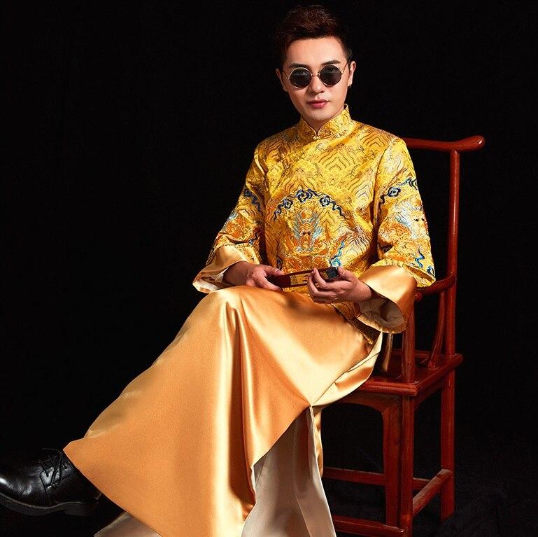 Dragon jaune brodé Robe chinoise marié ancien vêtements asiatique Photo studio mariage thème vêtements Xiuhe hommes Tang Robe