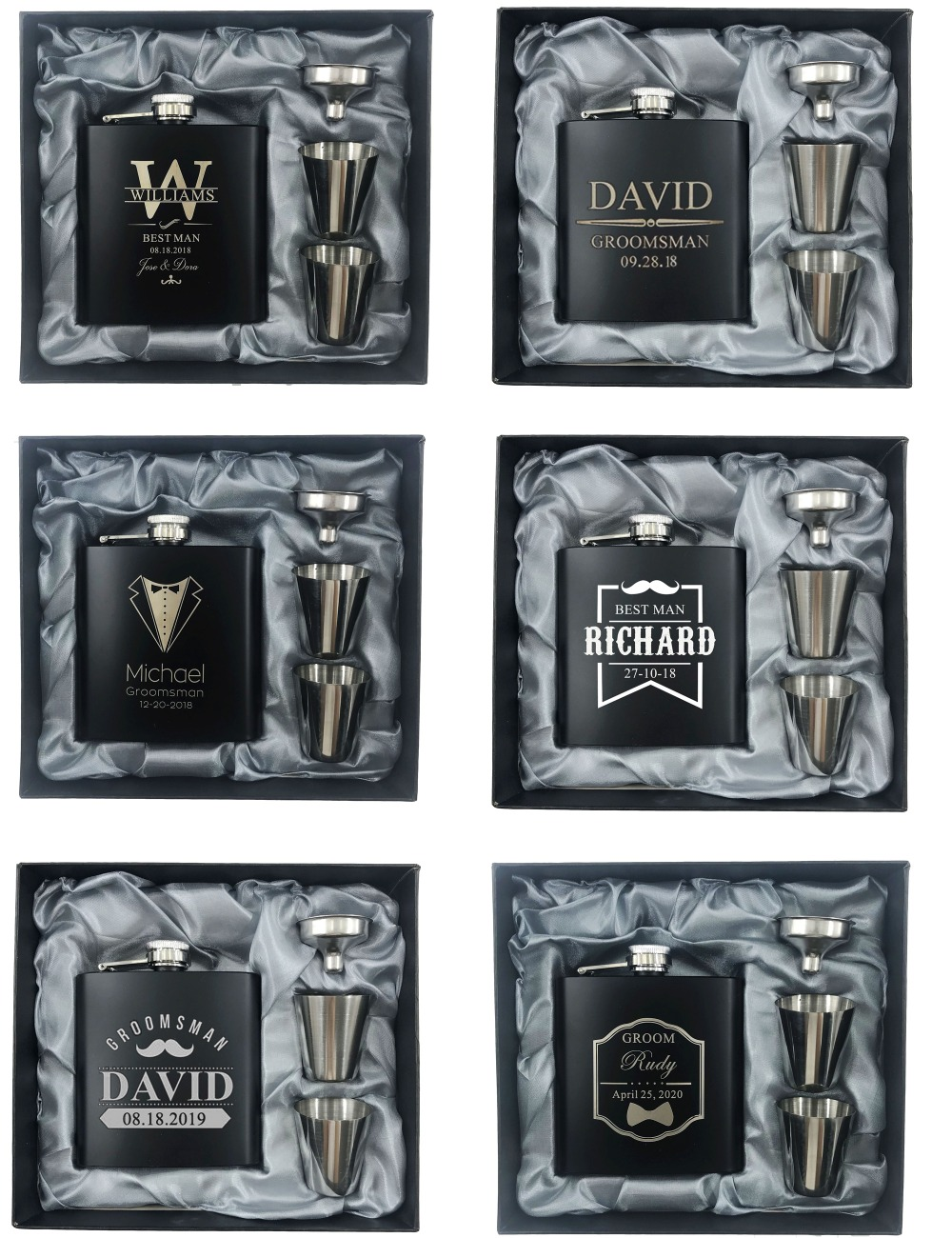 6 Set Personalized Engraved 6oz Black Stainless Steel Hip Flask With Box Wedding Favors Best Man