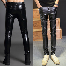 Personalized motorcycle faux leather font b pants b font men casual font b trousers b font