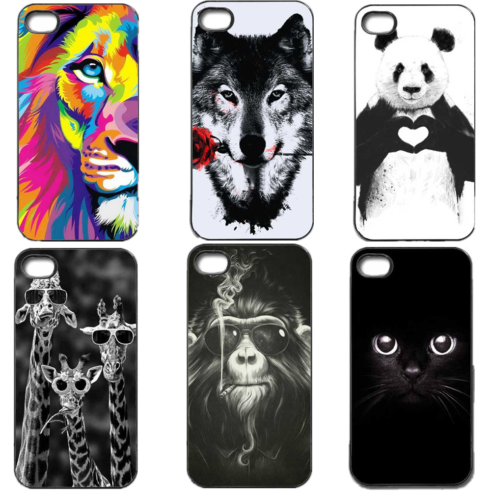 2016 New The Wolf Lion Panda Mickey Mouse Giraffe Black Cat Black Hardcover Cover case For iPhone SE 4 4s 5 5s 5c 6 6s 6plus