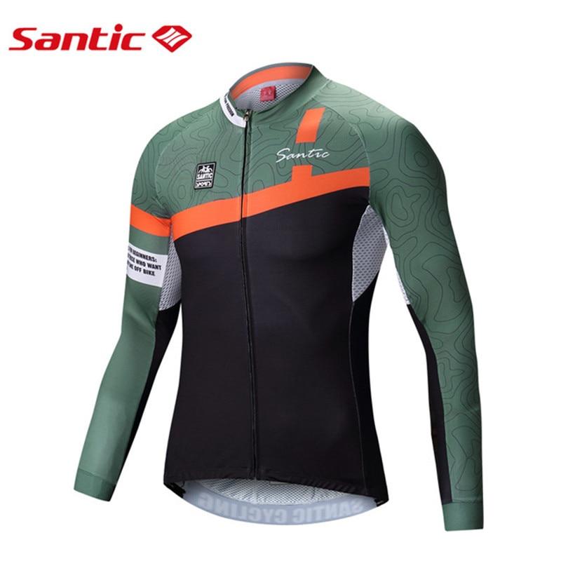 SANTIC homme maillot de cyclisme printemps automne manches longues Pro Fit vtt vélo de route maillot à séchage rapide course tricots sport chemises