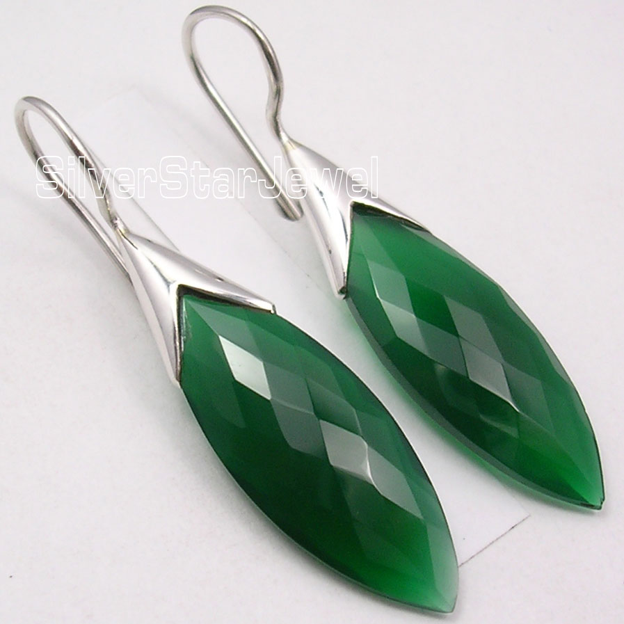 Chanti International Pure Silver Fancy CUT GREEN ONYX HANDMADE Dangle Earrings 4 4 CM NEW ITEM