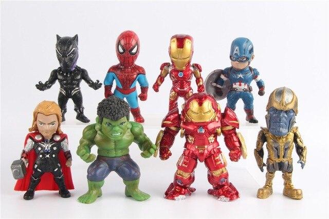 Marvel Avengers Captian América Thor Hulk Homem De Ferro Homem Aranha 8-9 Thanos Pantera Negra Figuras Com base cm