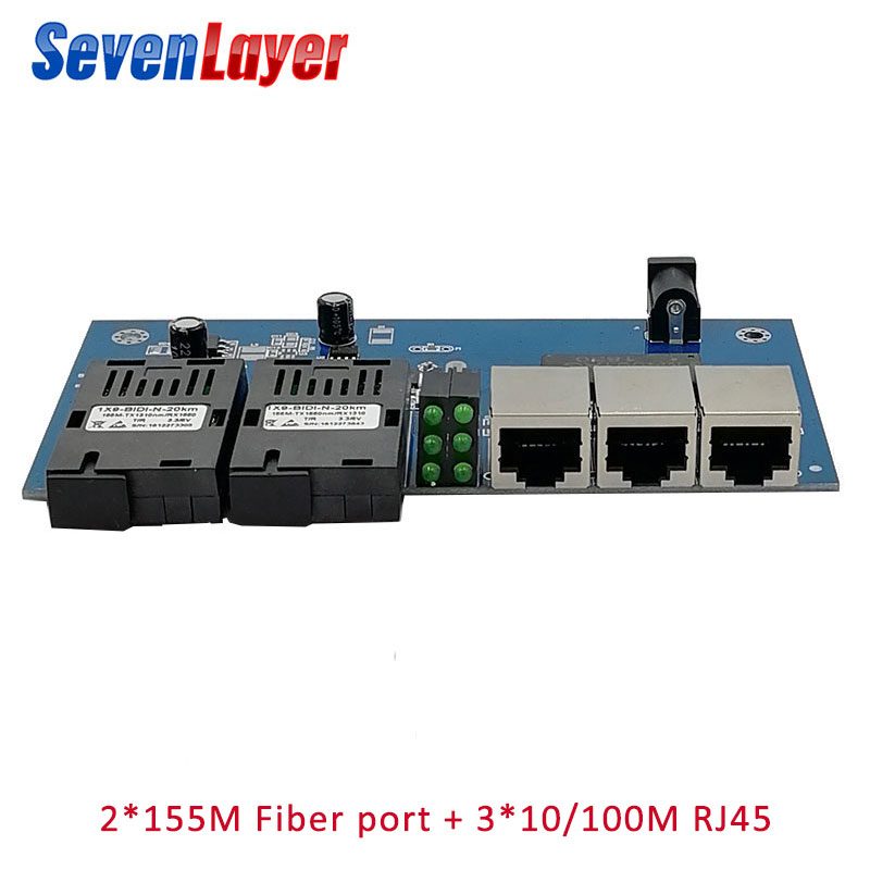 Fast Ethernet Switch Converter 20KM Fiber Optical Media Converter Single Mode 3 RJ45 And 2 SC Fiber 10/100M Port PCBA