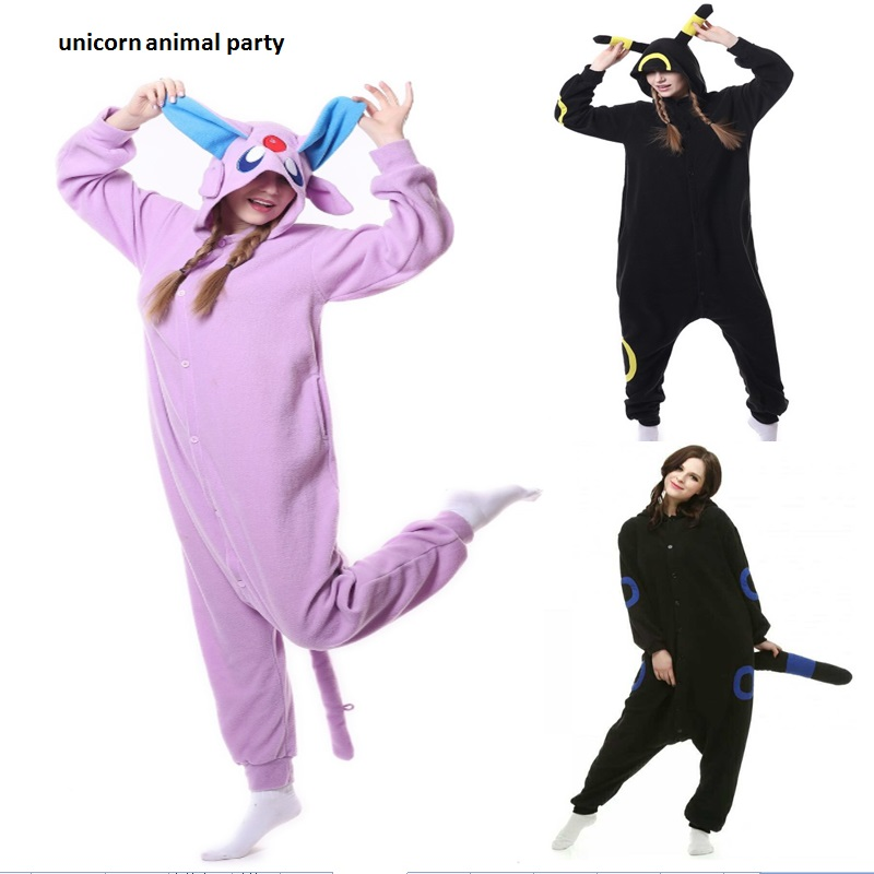 Kigurumi Dewasa Anak Umbreon Onesie Pikachu Piyama Pakaian Tidur Cosplay Kostum Kartun Sleepsuit Unisex Garmen Jumpsuit