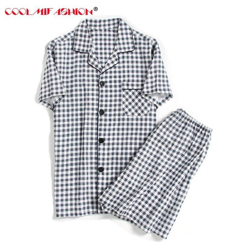 Pyjamas Sleepwear Short-Sleeve Home-Clothing Cotton Men Summer Plaid Tops Homme Double-Gauze
