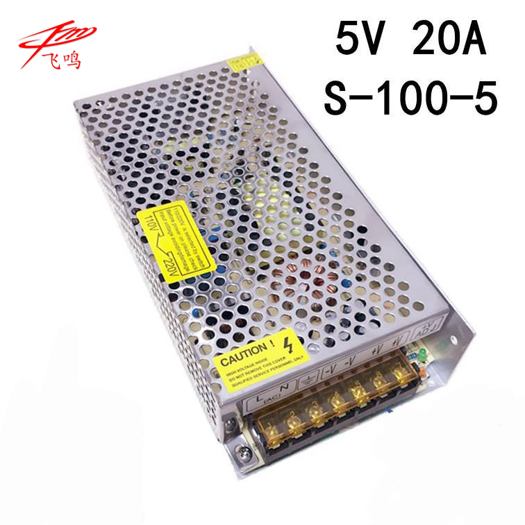 100W 5V 20A LED Light Devices Switching Power Supply AC-DC PSU 100/110/220/230V S-100-5 s 100 5 nonwaterproof 5v 100w aluminium power switching supply