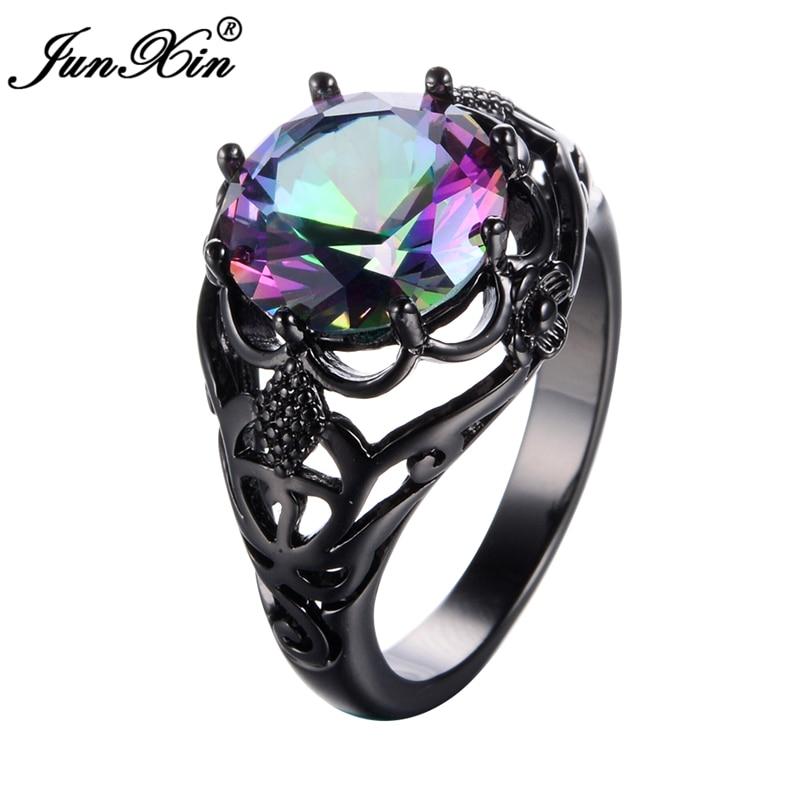 JUNXIN Mistery Big Round Men Women Rainbow Rings Black ...