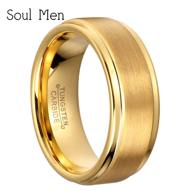 d211a9d11cff 8mm Color oro tungsteno carburo anillo de matrimonio para hombres  compromiso dedo joyería comodidad ajuste boda
