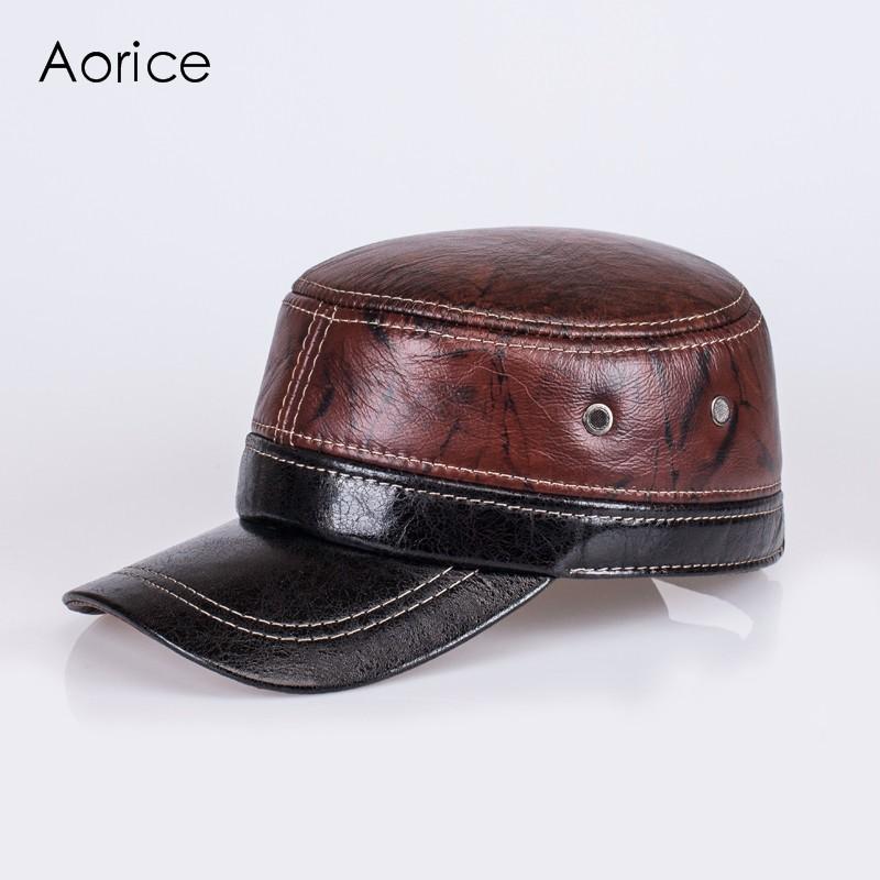 41ecf0552a7 HL087 genuine leather men baseball cap hat men s real skin leather ...