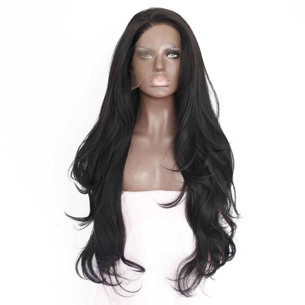 Fashion Hot Selling Natural Wave Natural Black Heat Resistant Hair Synthetic Lace Front Wigs For Women/Flora-22.3M
