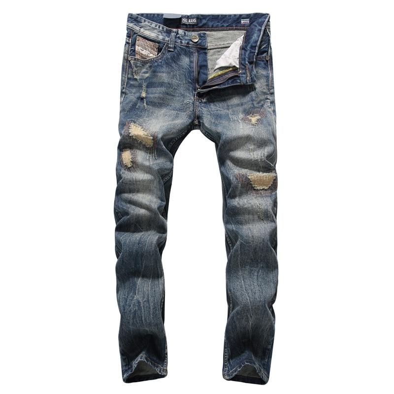 Moda Clásico Hombres Jeans Vintage Ripped Jeans Hombres Ajuste Recto 100% Algodón DSEL Jeans homme Streetwear Hip Hop Pantalones hombre