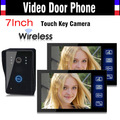 1V2 Wireless Video Door Phone Doorbell Intercom System 7 Inch Touch Key IR Night Vision Camera Rain Proof 1 Camera 2 Monitors