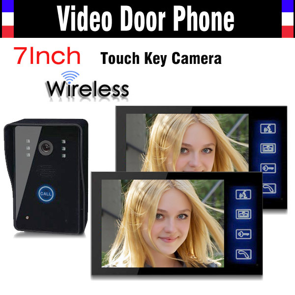 Wireless Video Door Phone Doorbell Intercom System 7 Inch Touch Key IR Night Vision Camera Rain Proof 1 Camera 2 Monitors yobangsecurity 1 camera 1 monitors 10 video intercom visual doorbell kits door phone system ir night vision hands free intercom
