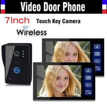 Wireless Video Door Phone Doorbell Intercom System 7 Inch Touch Key IR Night Vision Camera Rain Proof 1 Camera 2 Monitors