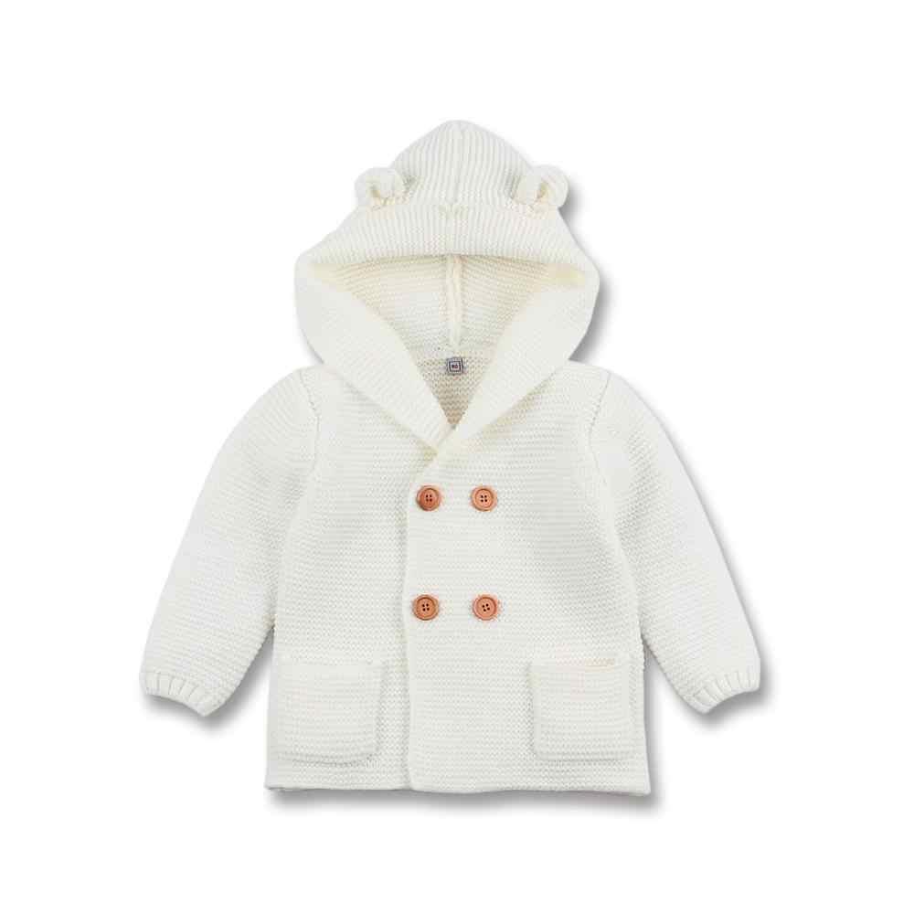 Зимние теплые для детей Детский свитер с меховым капюшоном съемный серый вязаный кардиган для маленьких мальчиков и девочек Осенняя верхняя одежда детский трикотаж SW11