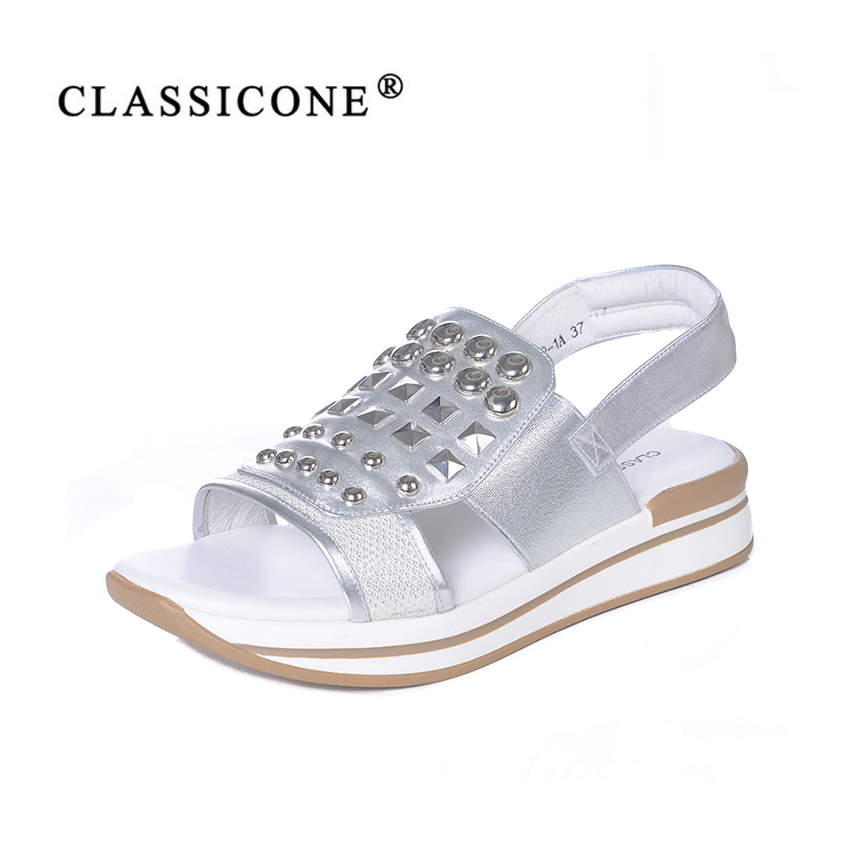 women shoes summer woman sandals flats with genuine leather fashion silver decoration style luxury sexy handmade CLASSICONE 2018