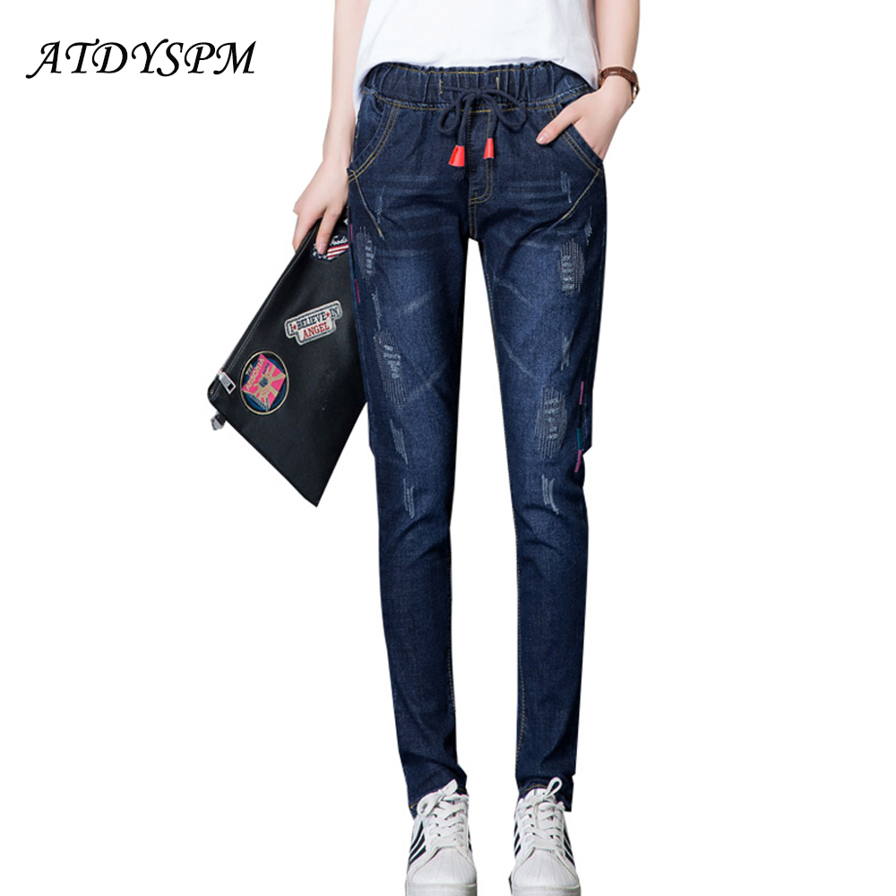 2017 New Fashion Stretch Cotton Jeans For Women Embroidery Denim Pants Elastic Waist Harem Pants Loose Casual Trousers loose stretch harem jeans with elastic waist woman elasticity harem jeans trousers for women pants large size
