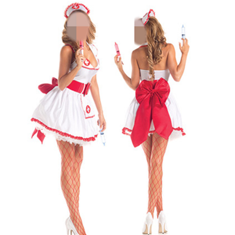 Wholesale Fantasy Party Sexy Nurse Costume Flirting Women Outfit Halloween Fantasias Womens Role Play Games