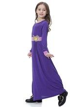 Fashion Muslim Maxi Dress Flower Children Abaya Girls Long Robe Gowns Middle East Moroccan Jubah Ramadan Arab Islamic Clothing