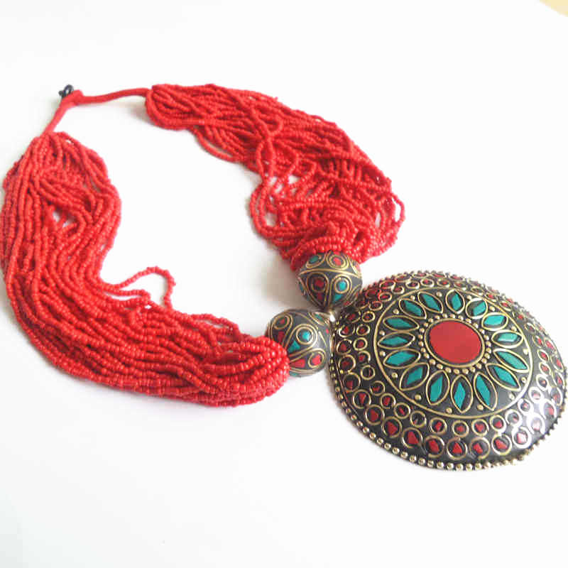 TNL573 Nepal colorful brass inlaid stone Big pendants,Tibetan Red beaded Necklace Tribal fashion