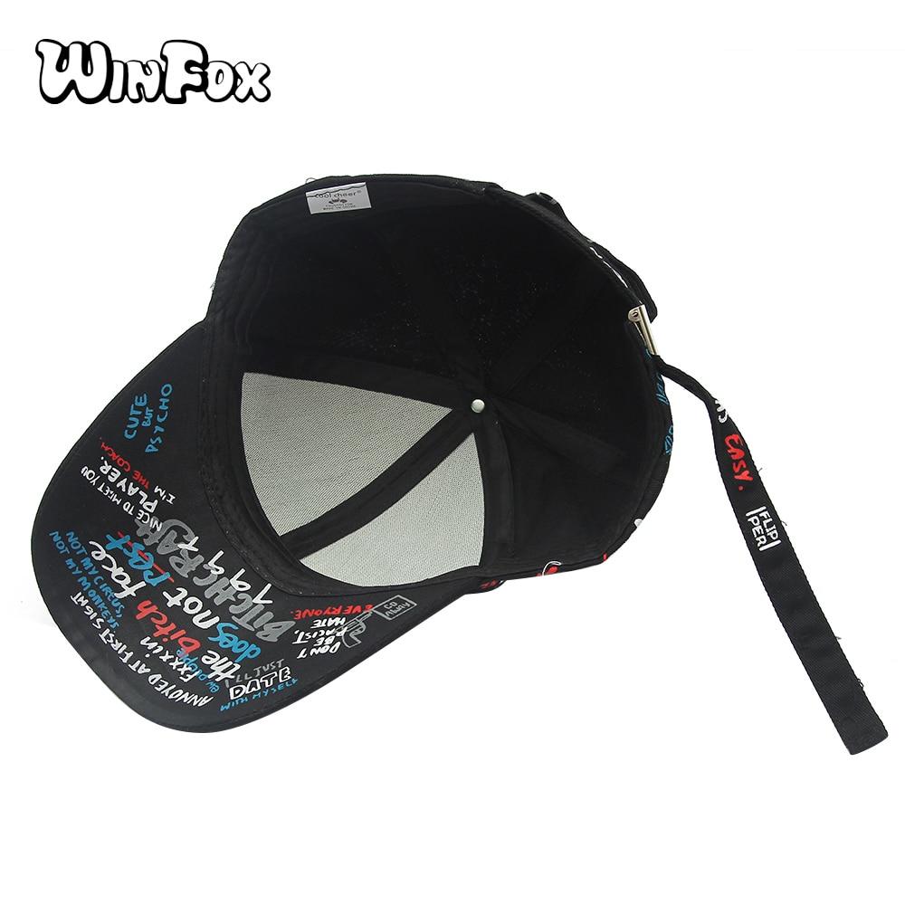 Winfox nueva moda Corea negro blanco Graffiti letra impresión béisbol gorras  papá sombreros para Mujeres Hombres en Gorras de béisbol de Deportes y ocio  en ... 28dfe522b34