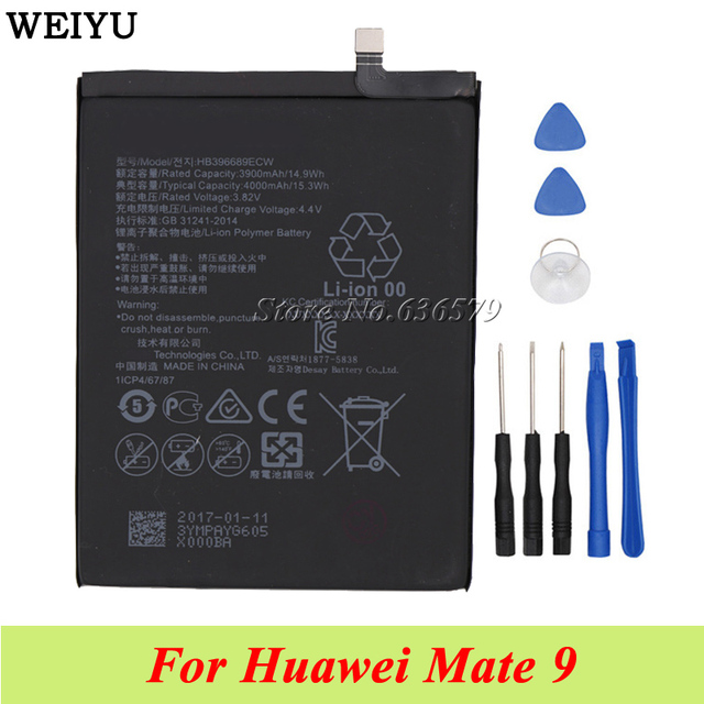 For Huawei Mate 9 Battery 4000mAh HB396689ECW Batterie Bateria Accumulator AKKU Tools