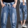 2016 primavera e verão mulheres de grande porte irmã gordura elástico na cintura mm de gordura calças sete calças de brim harem pants casuais fêmea gordura 5XL
