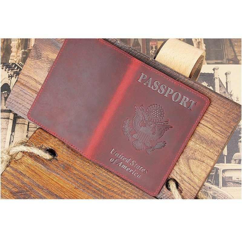 Genuine Leather United States Passport Cover America Identification Badge Travel Passport Holder for American Men Women