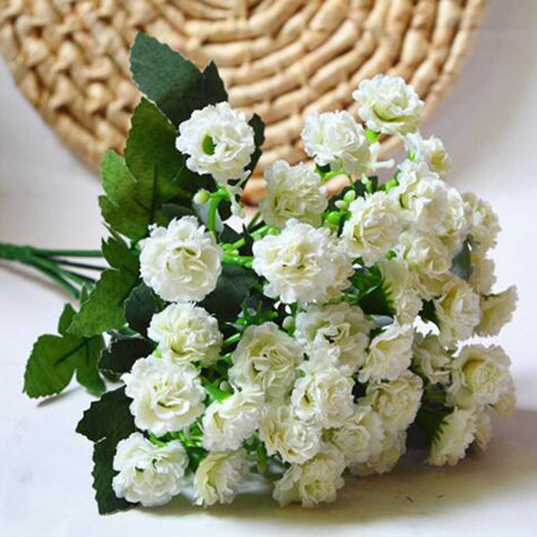 Mode Künstliche Seide Blumen Nelke 30 Knospen Blumen 6 Zweige 1 Bouquet Mutter Lila Blume Handwerk Für Hochzeit Home Party