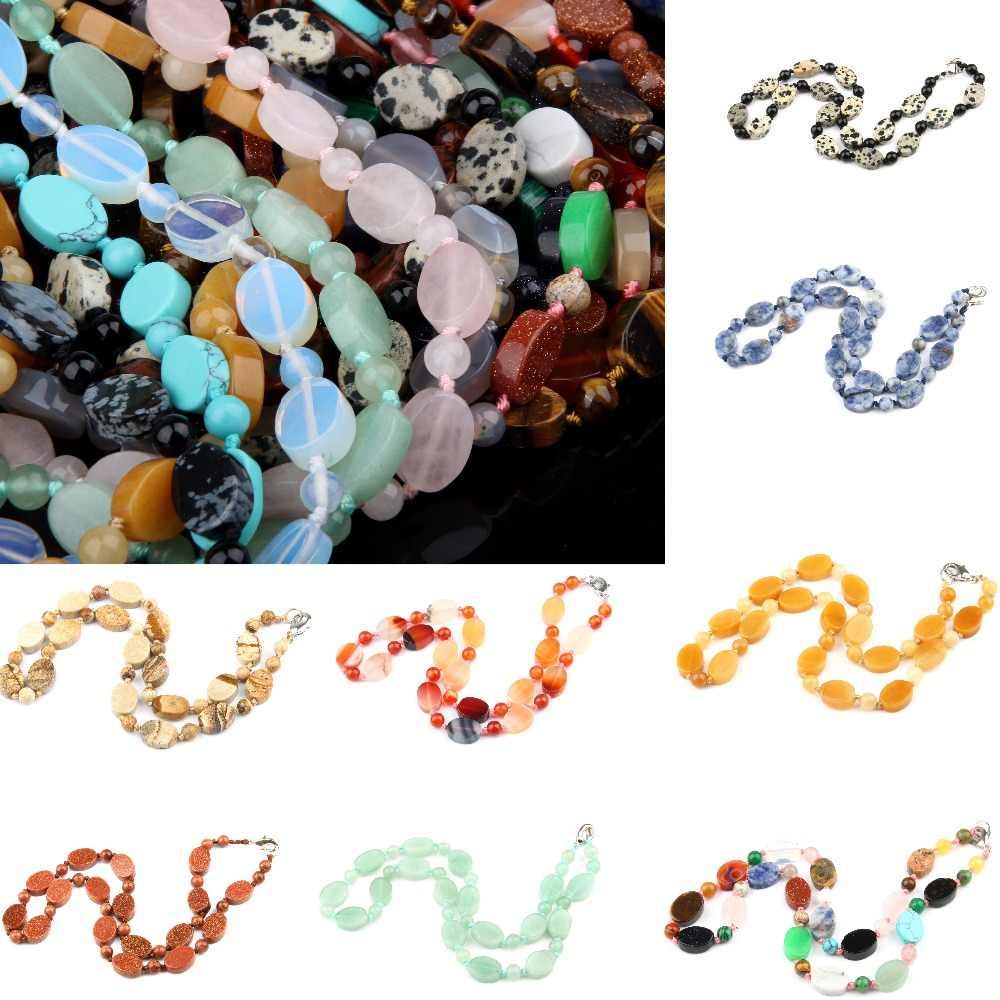 Wholesale Natural Stone Necklace Agates Necklace Quartz Stone Necklace  10x14mm 6mm  18 inches