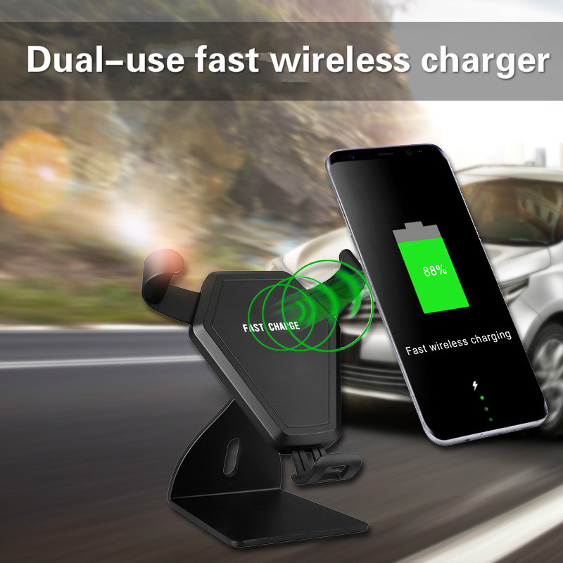 Car Multi-function Charger Car Dual-use Qi Wireless Charger Mobile Phone Wireless Charging Car Phone Bracket Charging mobile phone