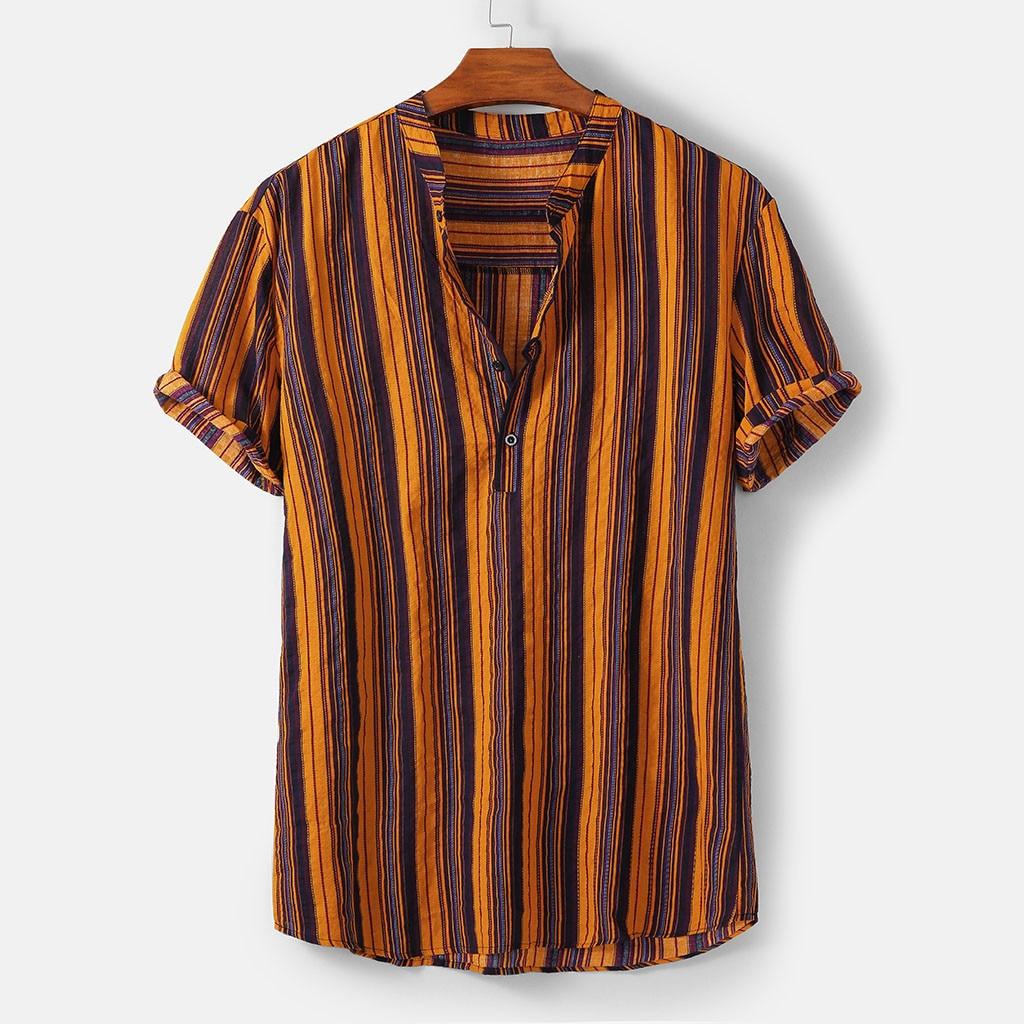 New Summer Hawaiian Shirt Men's Summer Fashion Stand Collar Striped  Printing Short Sleeve Shirt Top Plus Size Camisas Hombre
