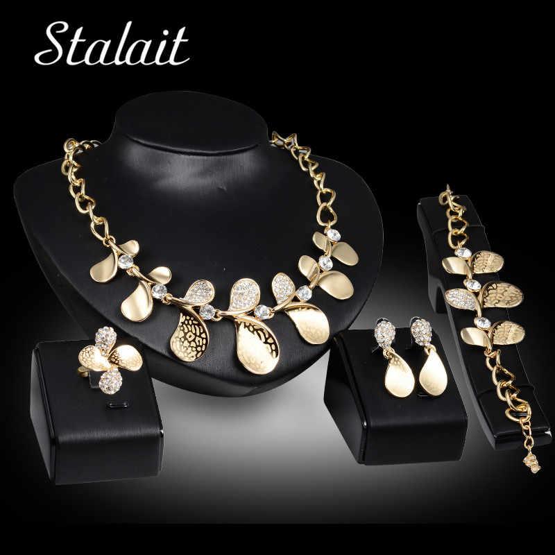 Стразы бижутерия золотого цвета наборы для женщин металлические листья кулон Дубай, Африканский стиль золотого цвета Ювелирные наборы Нигерия