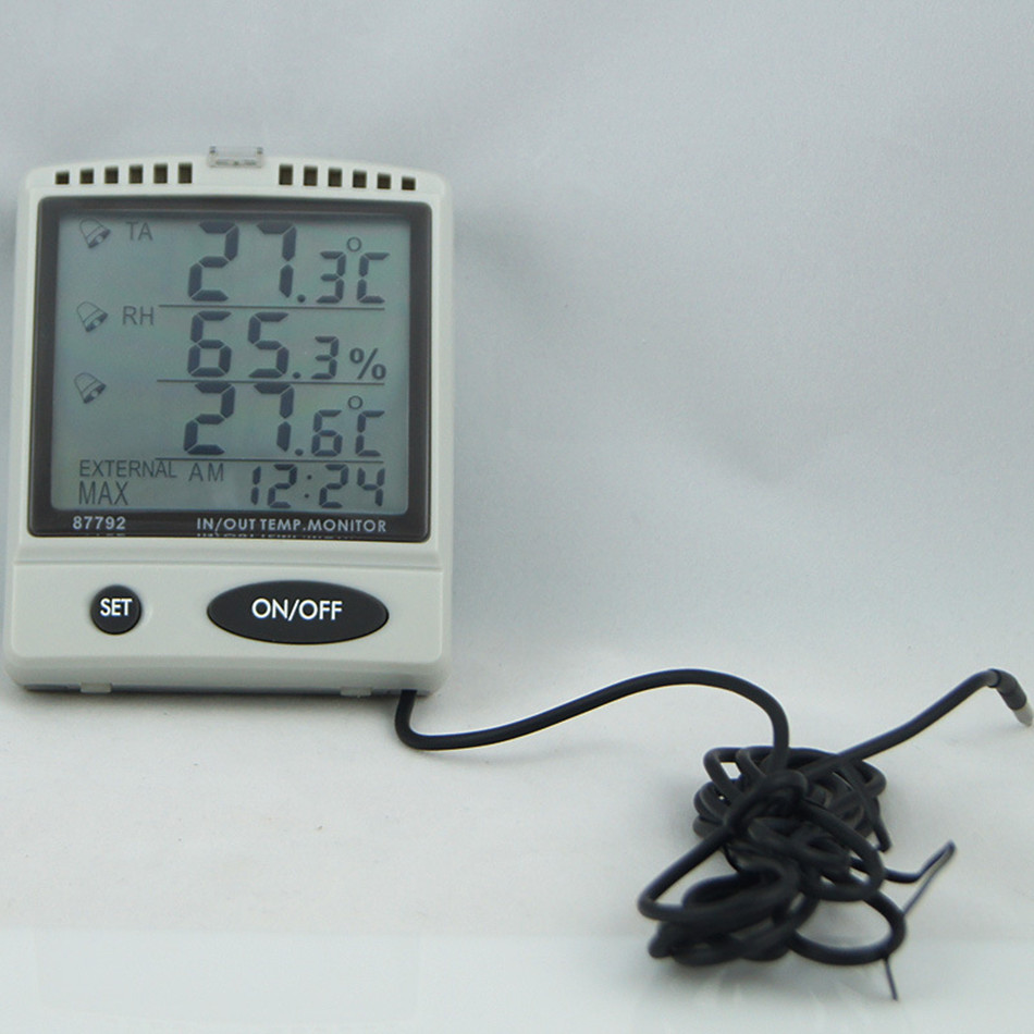 AZ87792 Digital Temperature Humidity Meter With Outdoor Testing Probe IN/OUT Temp. & RH% Monitor digital indoor air quality carbon dioxide meter temperature rh humidity twa stel display 99 points made in taiwan co2 monitor