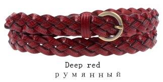 Горячая распродажа бренд ткачество из натуральной кожи тонкий пояса для женщин украшения фраке cummerbunds цвет полная длина 110 см - Цвет: Deep Red