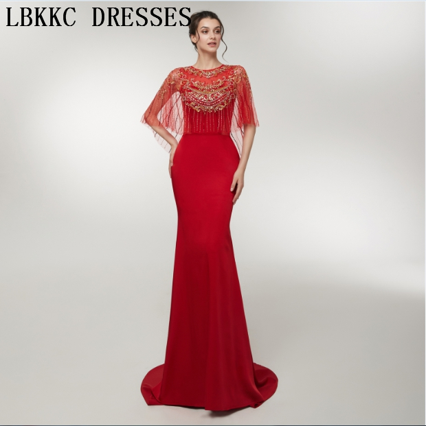 Abiti Da Cerimonia Da Sera Red Mermaid   Evening     Dresses   Long Half Sleeve Handly Sew Beads Robe De Soiree Women Formal   Dress