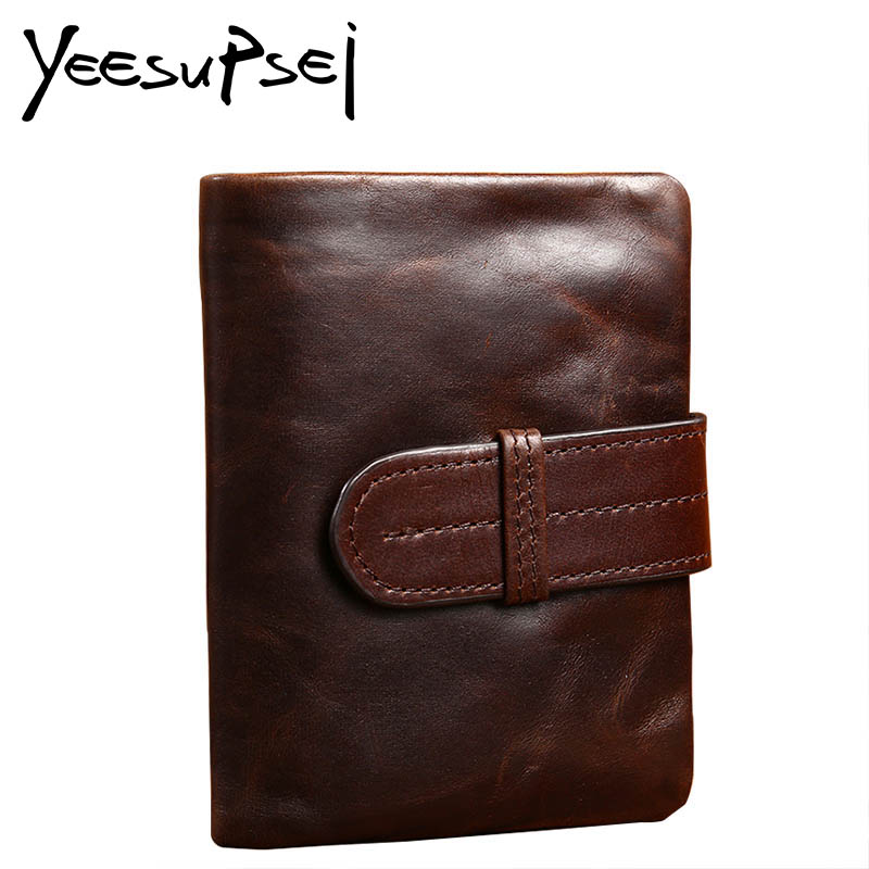 YeeSupSei 100% Genuine Leather Men Wallets Man Famous Small Short portomonee with Coin Zipper Mini Male Purses Card Holder Walet