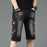 ORINERY 2019 New Summer Short Jeans Men High Quality Floral Embroidery Ripped Jeans for Man Fashion Casual Straight Denim Pants