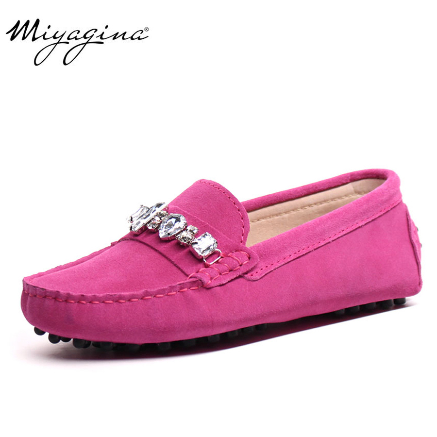MIYAGINA Högkvalitativa äkta läderkvinnorsskor Kvinnliga Casual Fashion Flats Vårhösten körskor kvinnor läderlönar