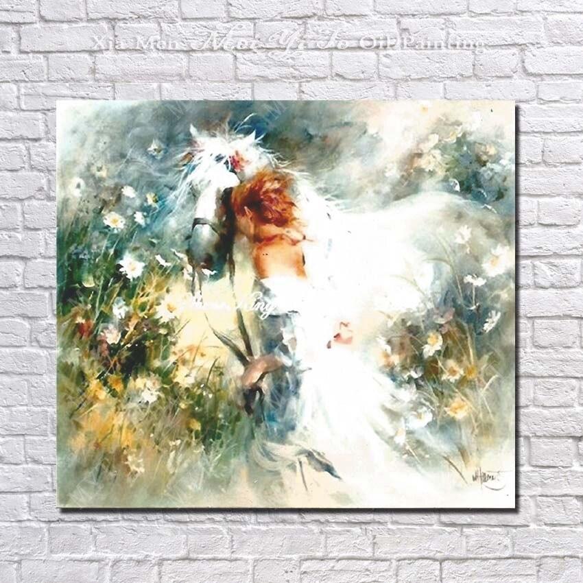 dcdb30d2c Pintura a óleo cavalo branco e imagem menina bonita bonito deisgn por  handmade menina e imagem do cavalo de corrida