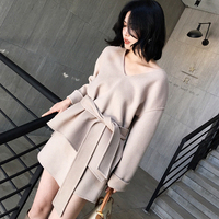 90 Wool Coat Women Loose Pulllover Design Top V Neck Long Sleeves Sashes 3 Colors Elegant