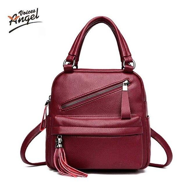 72d751f6cdfe tassel women genuine leather backpack teenage backpacks for girls vintage  feminine backpack sac a dos femme