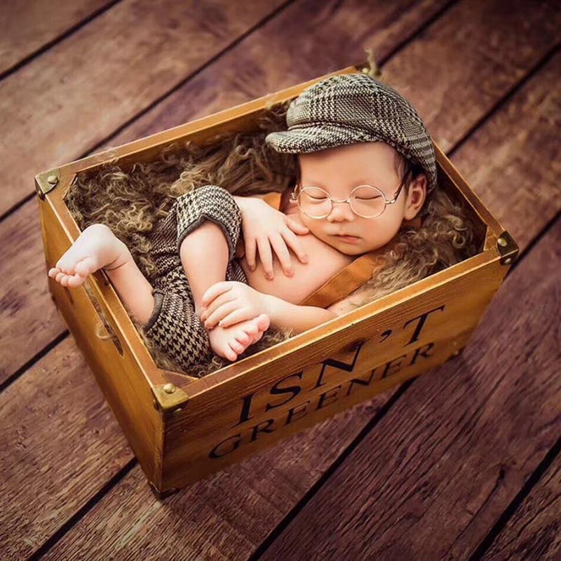 Newborn Photography Props Accessories Baby Boys Photography Clothing Suspenders Pants+Hat Gentleman Set Studio Baby Photo Props